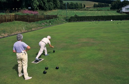 Men on bowling green in Pitlochry Scotland : Stock Photo