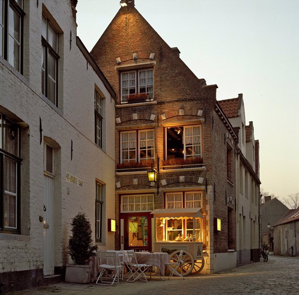 Restaurant in historic city center of Bruges, Belgium : Stock Photo