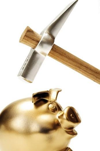 Stock Photo: 1848R-318223 Golden piggy bank and hammer