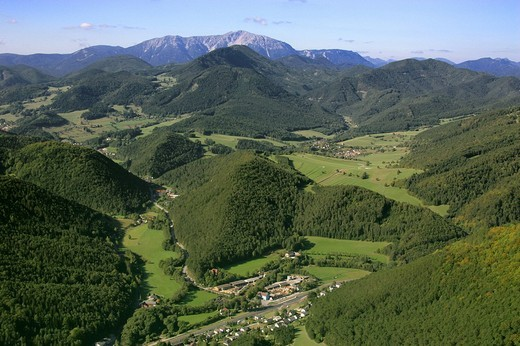 An aerial view of an saw mill in Reichental in the background the village Waidmannsfeld and the mountain Schneeberg the Lower Austria : Stock Photo