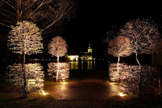 Castle Orth at lake Traunsee at night Gmunden Upper Austria Austria : Stock Photo
