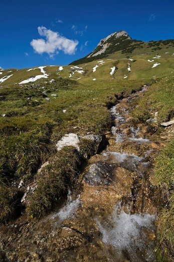 Stock Photo: 1848R-319262 Stream formed by melt water along the path leading to the Falkenhuette, mountain cabin in Eng, Ahornboden region, Karwendel Range, Austria, Europe