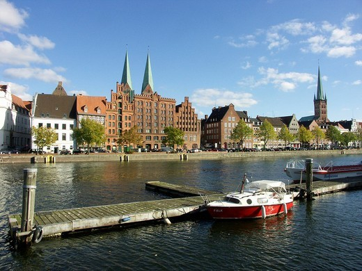 Stock Photo: 1848R-319357 View of the Hanseatic town Luebeck