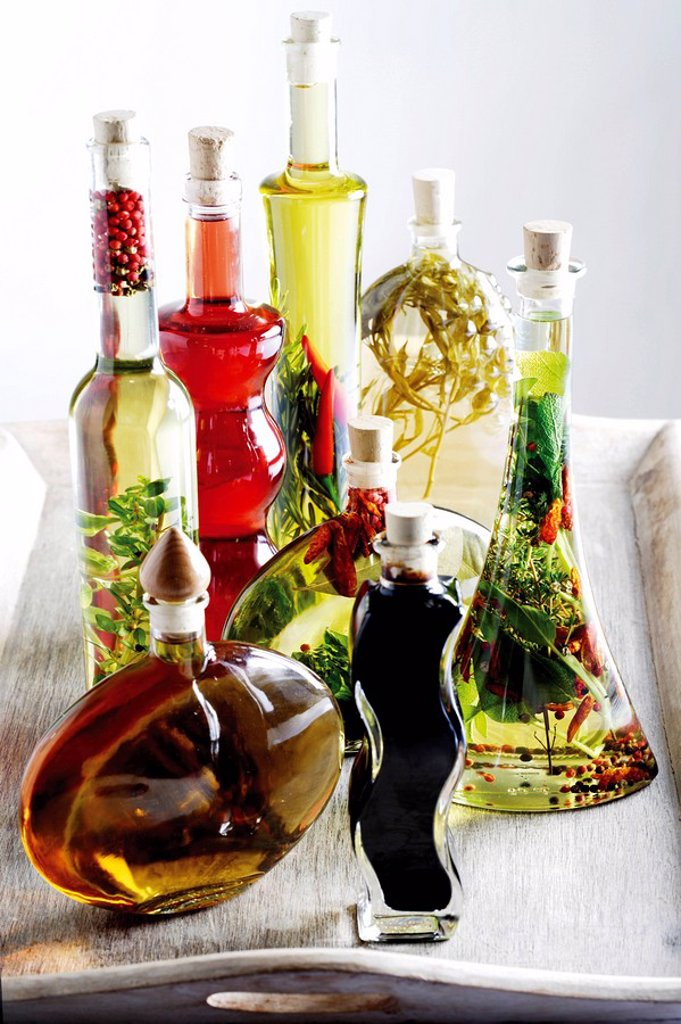 Vinegar bottles and oil bottles : Stock Photo