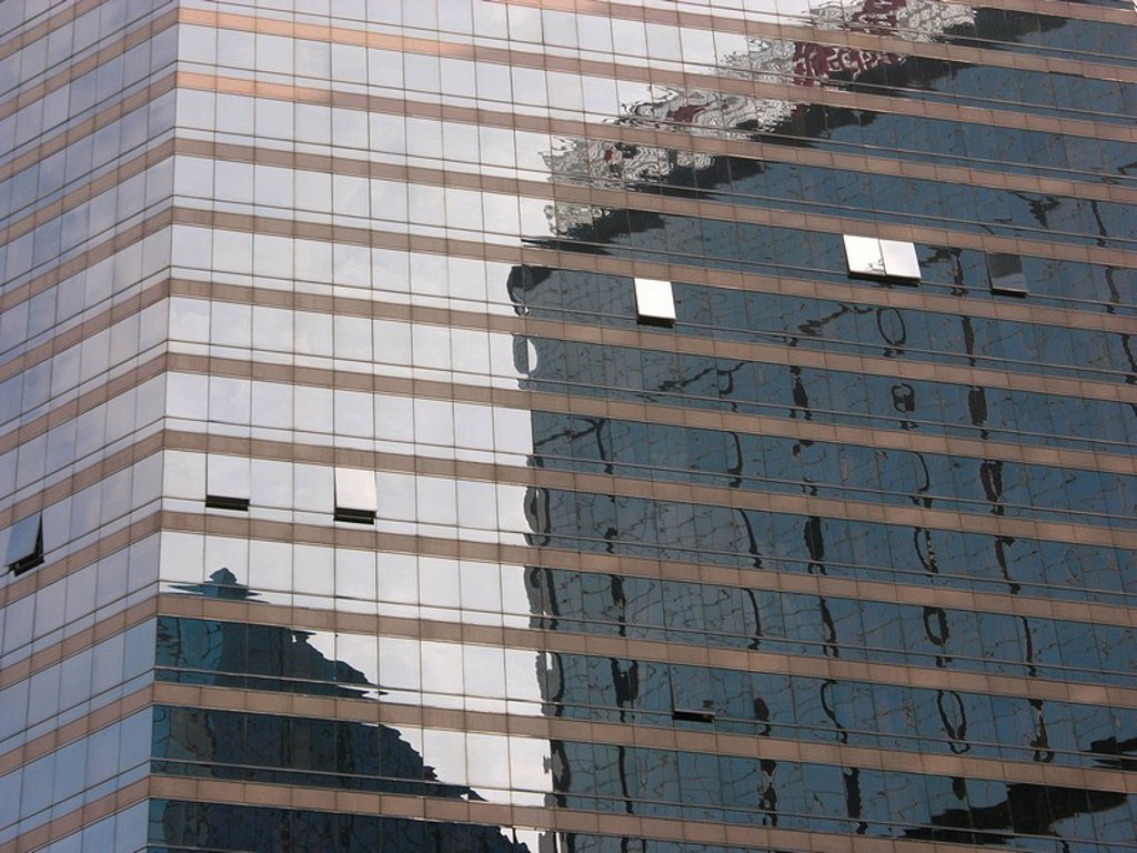 Stock Photo: 1848R-319465 Hong Kong - reflection of a sky scraper in the front of another sky scraper, Hongkong, China, Asia