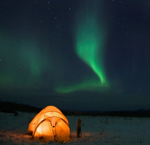 Aurora borealis, northern lights, winter camp, Yukon Territory, Canada : Stock Photo