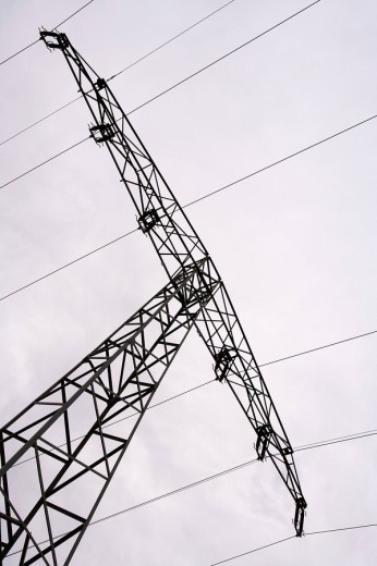 Power pole with power lines : Stock Photo