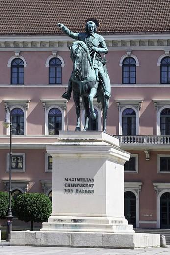 Equestrian statue elector Maximilian I Munich, Upper Bavaria, Germany : Stock Photo