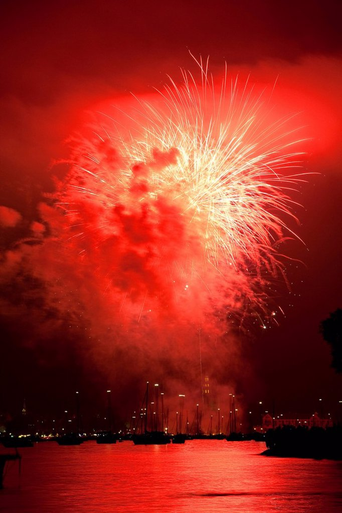Fireworks at the Seenachtsfest lake Festival in Konstanz on Lake Constance, Germany and Switzerland, Europe : Stock Photo