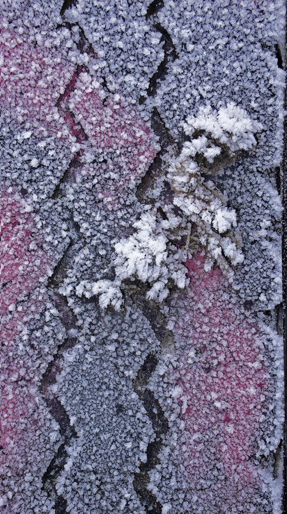 Frost-covered car tire, detail showing tread : Stock Photo