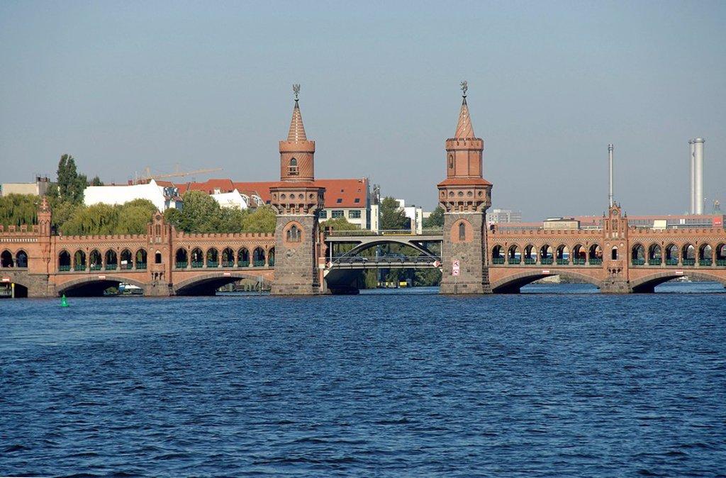 Bridge Oberbaumbrücke over the river Spree, Berlin, Germany : Stock Photo