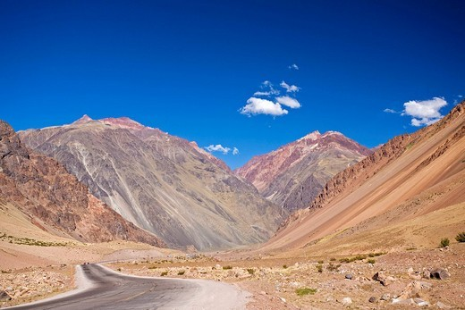 Pass road to miracle of nature Punte Del Inca, central Andes, Argentina, South America : Stock Photo