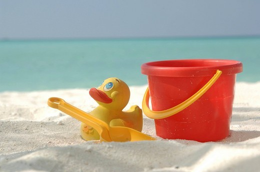 Sandbox toys on the beach, Diffushi Island, Holiday Island, Southern Ari Atoll, Maldives, Indian Ocean : Stock Photo