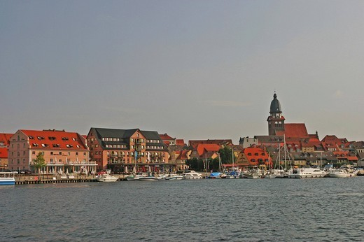 BRD Germany Brandenburg Waren at the Müritz Lake Old Historical Church of Waren and Old Down Town View to the Old City of Waren and the Harbour : Stock Photo