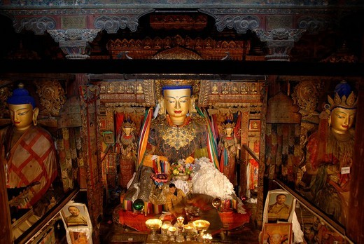 Stock Photo: 1848R-324049 Tibetan Buddhism monk in front of Buddha Shakyamuni in assembly hall Pelkor Choede Monastery Gyantse Tibet China