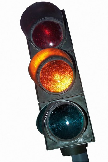 Traffic light, amber cutout : Stock Photo