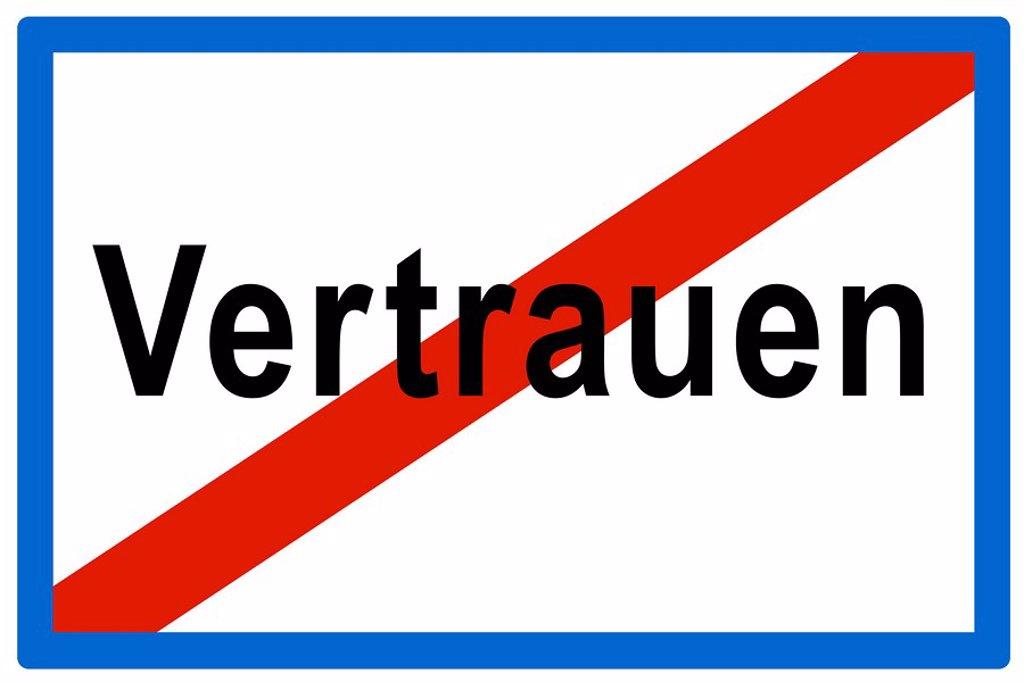 Symbolic picture, no more Vertrauen Ger  for trust, broken trust : Stock Photo
