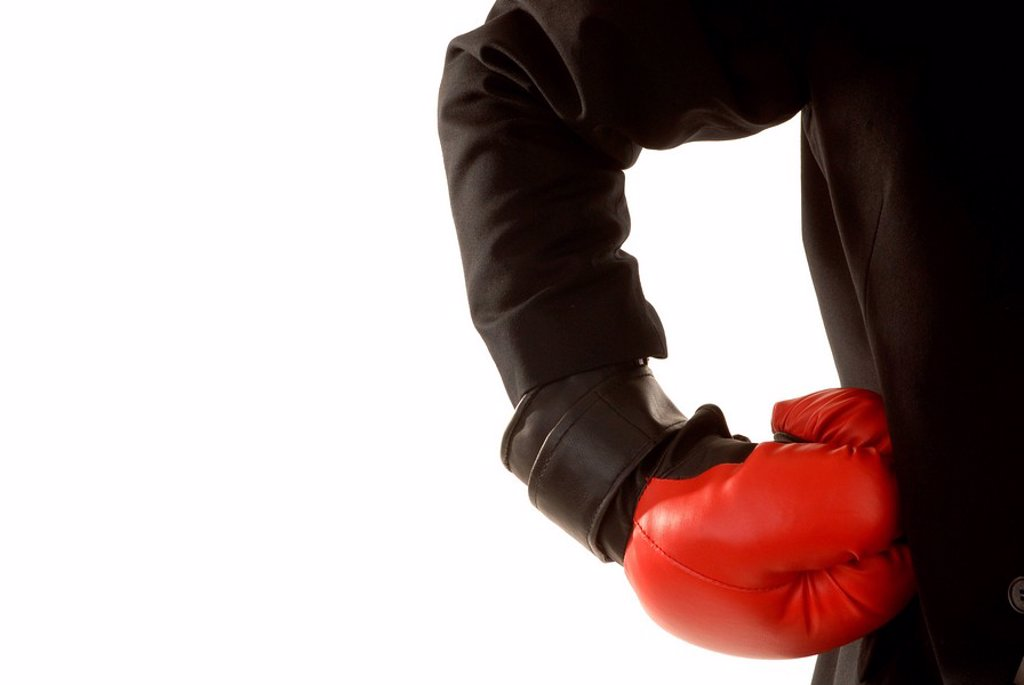 Unternehmer with boxing gloves : Stock Photo