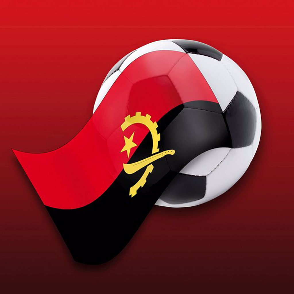 Football with Angolan flag : Stock Photo