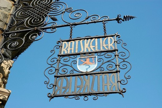 Stock Photo: 1848R-325952 Wrought iron sign Ratskeller, heraldic animal Bergischer Lion, Remscheid, Bergisches Land, North Rhine Westphalia, Germany