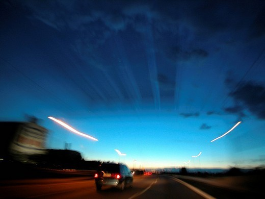 Driving on the highway : Stock Photo