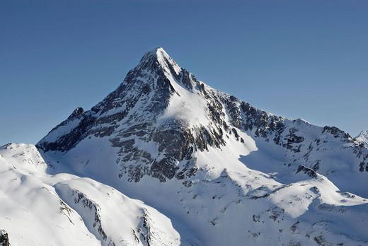 Peak of the Brandenberger Kolm in the freshly snowed up, untouched Zillertaler alps Tyrol Austria : Stock Photo