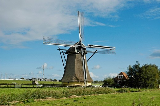 Stock Photo: 1848R-327068 Wind mill, Hindeloopen, Ijsselmeer, Frisia, Netherlands