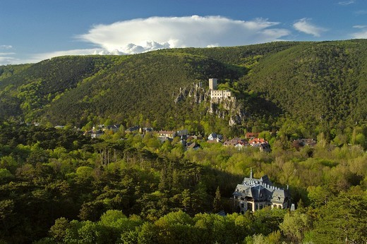 The castle ruin of Rauhenstein in the Helenenvalley town of Baden Lower Austria : Stock Photo