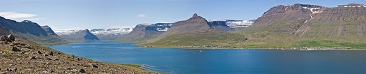 View over Skutulsfjoerður fjord, Isafjoerður, Western Fjord, Iceland, Atlantic Ocean : Stock Photo