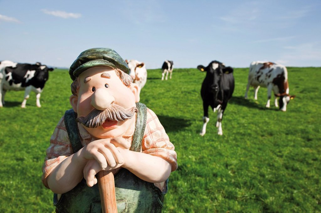 Gardener or farmer figurine on a meadow in front of cows : Stock Photo