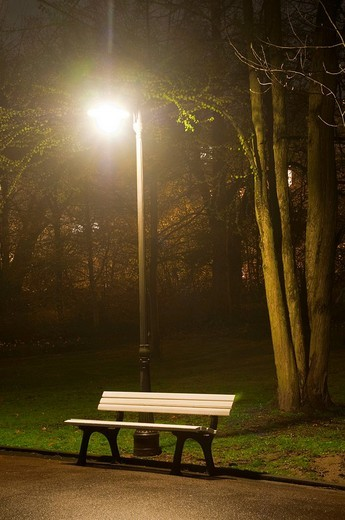 Park bench at night, lantern, spa gardens, park, Wiesbaden, Hesse, Germany : Stock Photo