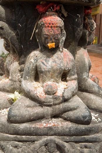 Hinduistic statue, Swayambhunat Tempel, Kathmandu, Nepal : Stock Photo