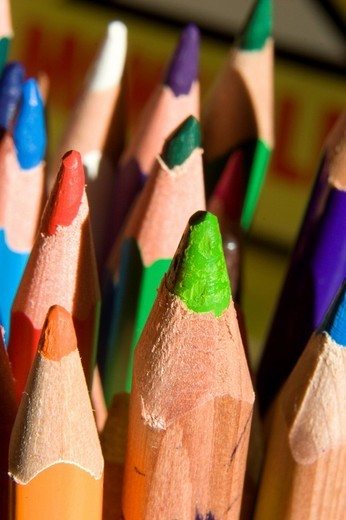 Pencil crayons, colouring pencils : Stock Photo