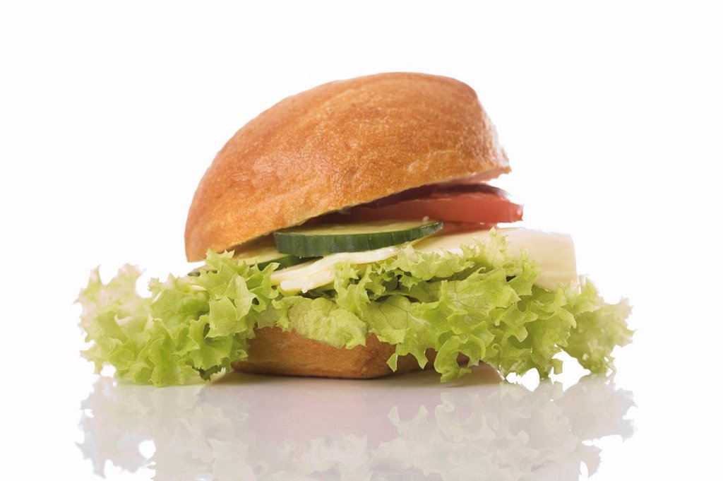 Turkey sandwich with lettuce, tomato and cucumber : Stock Photo