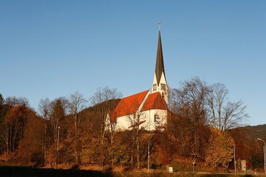 Stock Photo: 1848R-328847 Maria Himmelfahrt Church, Bad Wiessee, Lake Tegernsee, Upper Bavaria, Germany, Europe