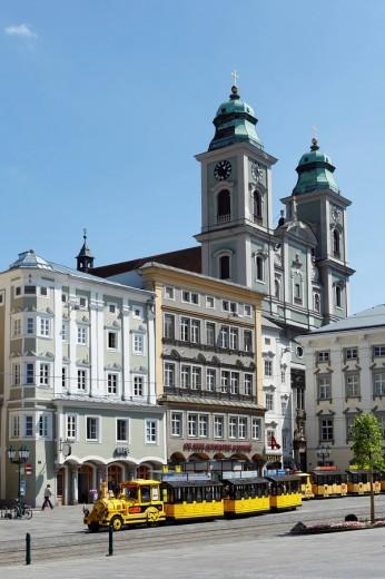 Main square and Old Dome, Linz, Upper Austria, Austria, Europe : Stock Photo