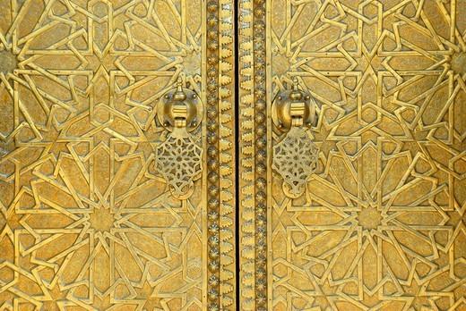 Stock Photo: 1848R-329247 Artful oriental brass Portal Dar el-Makhzen Place des Alaouites Fes El-Jdid Morocco