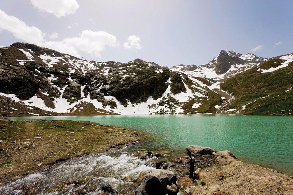 Lake Weisssee, Kaunertal Valley, Tyrol, Austria, Europe : Stock Photo