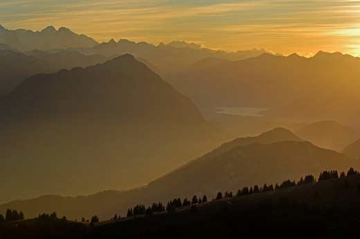 Stock Photo: 1848R-330186 Sunset onf the Rigi with view of Inner Switzerland, Schwyz, Switzerland