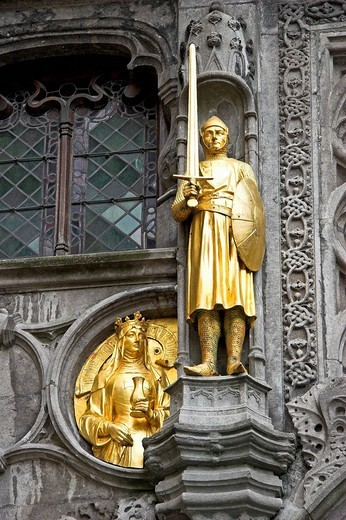 Statues of Basilica of the Holy Blood Heilige Bloed Basiliek in Brugge, West Flanders, Belgium : Stock Photo