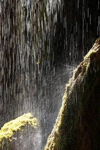 Schleierfaelle, Bridal Veil waterfalls on the Ammer River, Pfaffenwinkel, Upper Bavaria, Bavaria, Germany, Europe : Stock Photo