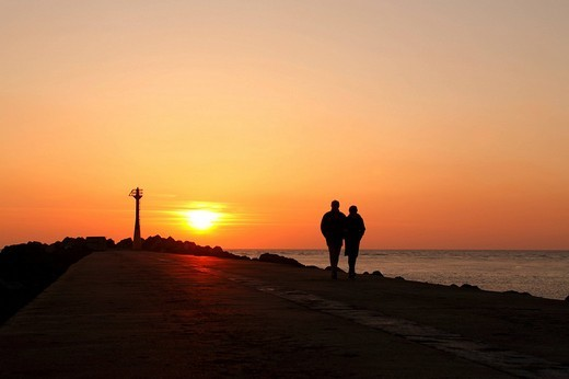 Sunset on the Atlantic Ocean, Anglet, France : Stock Photo