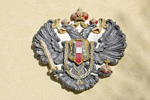 Former Austrian coat of arms in Mayerling Lower Austria Austria : Stock Photo