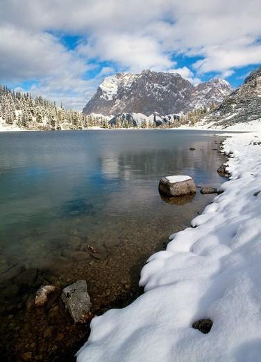 Stock Photo: 1848R-331785 Lake Seebensee, Mt  Zugspitze, Mieminger Chain, Wetterstein Range, Alps, Tyrol, Austria, Europe