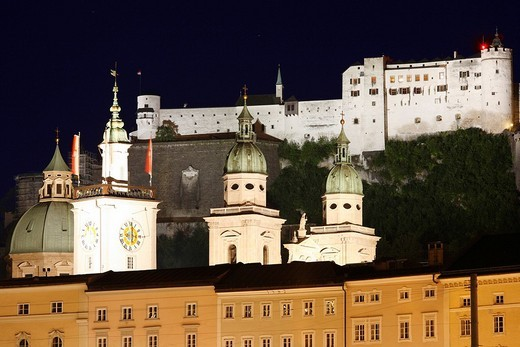Stock Photo: 1848R-331979 Town hall, cathedral and Festung Hohensalzburg Fortress, night shot, Salzburg, Austria, Europe