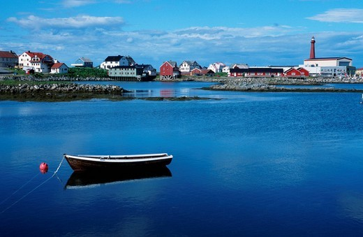 Boat in front of Andenes, Vesterales, Norway : Stock Photo