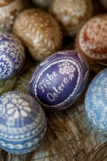 Stock Photo: 1848R-332114 Traditional Silesian Easter eggs decorated through scraping and shaving