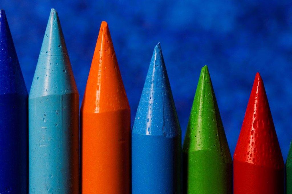 Stock Photo: 1848R-332180 Colorful wax crayon