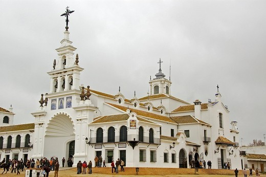 Ermita del Rocío, pilgrimage church in El Rocio, Andalusia, Spain, Europe : Stock Photo