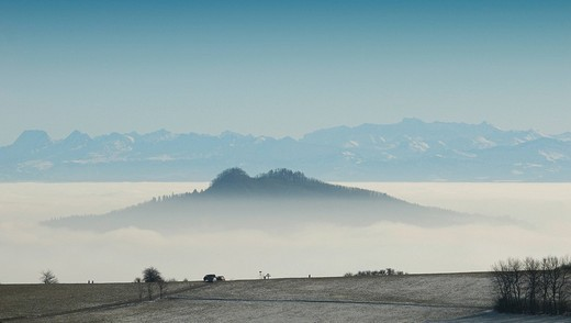 The Hohenstoffeln surrounded by fog - Konstanz district, Baden-Wuerttemberg, Germany, Europe : Stock Photo